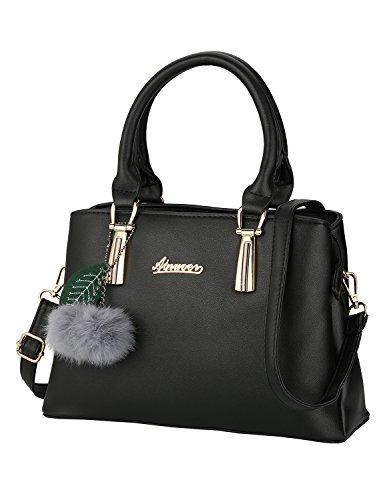 Frauen PU Leder Henkeltaschen mit Hairball Vintage Tasche Handtasche Umhängetasche Damen (Schwarz)