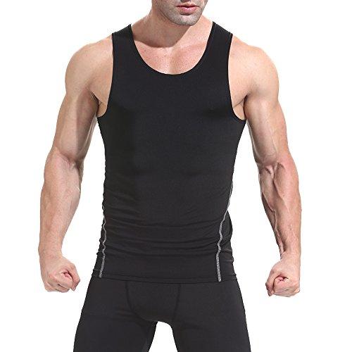 AMZSPORT Men's Sleeveless Compression Tank Cool Dry Sports Shirt Baselayer Top Black XL