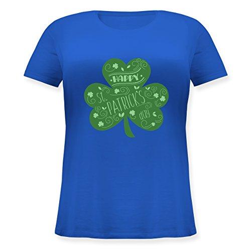 Shirtracer St. Patricks Day - Happy St. Patricks Day Kleeblatt - Lockeres Damen-Shirt in Großen Größen mit Rundhalsausschnitt Blau