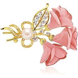 Epinki Joyería Chapado en Platino Broches para Mujer Flor Hoja Perla Circonita Rosa Broches