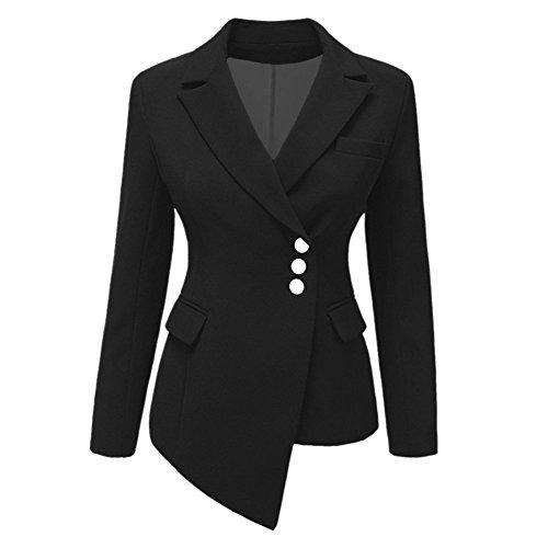 Donna manica lunga blazer - moda tinta unita slim fit ol giacca con pulsante casual ufficio business lavoro tailleur giacca cappotto corto capispalla top