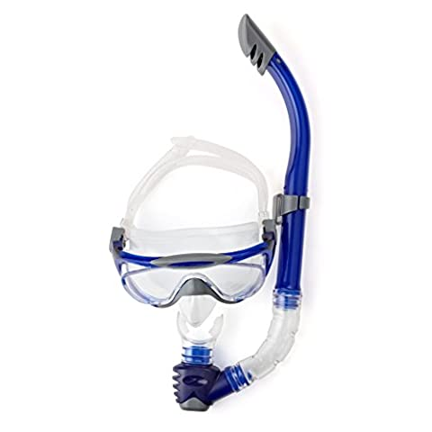 Speedo Adult Glide Mask and Snorkel Set - Grey/Blue, One Size
