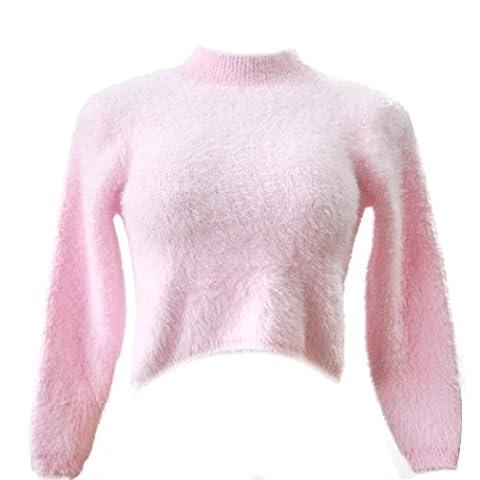 Sweater Damen Xinan Langarm Highnecked Hemd Nabelschnur Talsohle Plüsch Top Bluse (Freie Größe, Rosa)