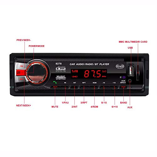 Hadeyicar Auto Bluetooth Media Receiver 1 DIN 12 V MP3-Player FM-Radio LED Musikwiedergabebildschirm Freisprecheinrichtung USB SD MMC AUX-IN