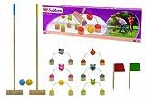 Eichhorn 100004538 - Outdoor Krocket Spiel,enthält 6 verstellbare Figurentore, 2 Schläger, 2 Zielflaggen & 2 Bälle, Birkenholz, Kiefernholz