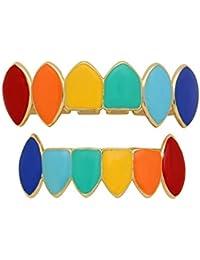 14k Chapado en Oro Plateado Color del Arco Iris Vampire Fangs Grillz Set (Color : Plata)