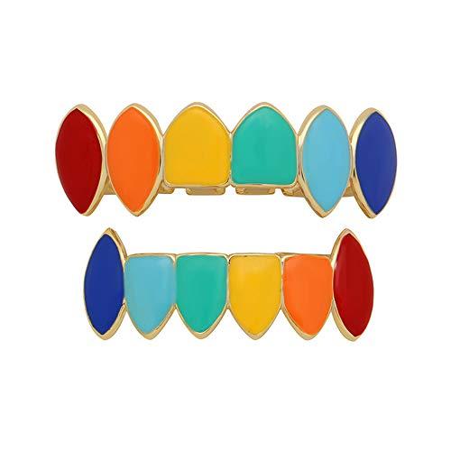 Yamyannie Hip Hop Zahngrills für Zähne, 14 k Gold vergoldet Silber Rainbow Vampir Fangs Grillz Set (Farbe : Gold) Vampire Fang Grillz