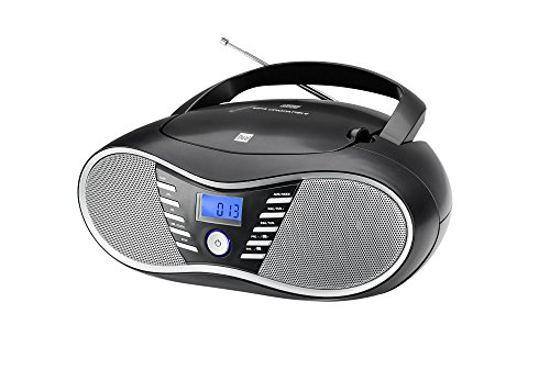 Dual P 60 BT Portable Boombox (UKW-Radio, CD-Player, Bluetooth für Audiostreaming, USB-Anschluss) Schwarz (Mp3-cd-player Portable)