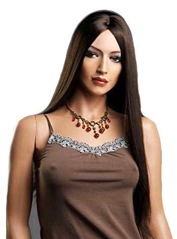 Peluca mujer, color marrón oscuro, extra larga, sin