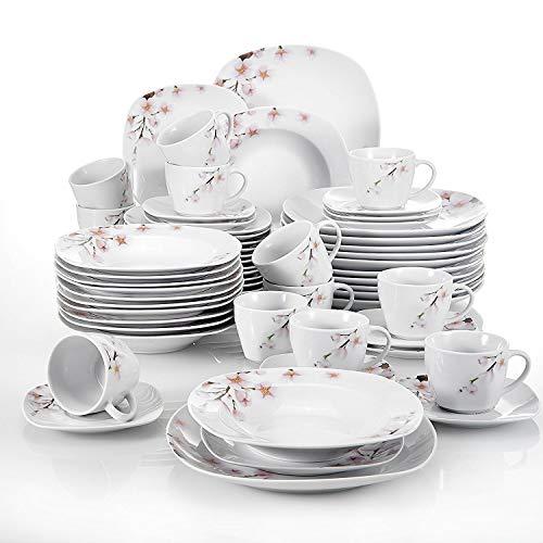 Veweet ANNIE 60pcs Service de Table Porcelaine 12pcs Assiette Plate, Assiette à Dessert, Assiette Creuse, Tasse avec Soucoupes pour 12 Personnes Vaisselles Céramique Design Fleuri Sakura
