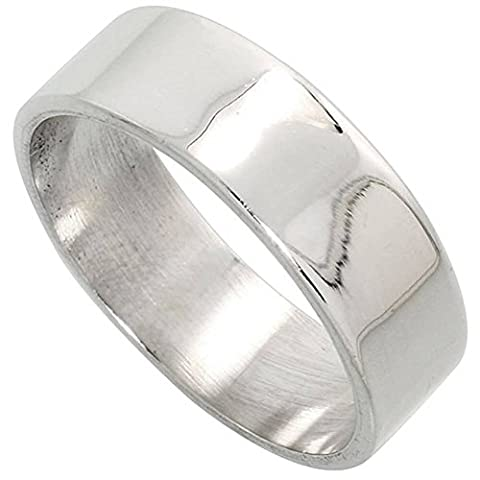 Revoni Sterling Silver 7 mm Flat Wedding Band Ring, size L