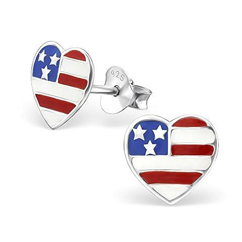 Usa Costume Pour Kid - USA Drapeau Cœur Argent sterling Boucles d'oreille