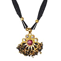 Bodha Traditional Indian Handcrafted 22K Gold Plated Designer Fancy Mangalsutra Thushi mala Necklace Pendant Set For Women (SJ_2820)