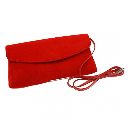 Peter Kaiser Winema Fold Over Clutch With Shld Strap Red Suede