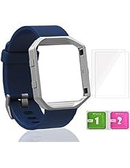 Pour Fitbit Blaze Bracelet - Digitek Silicone Remplacement Bande avec Cadre Métal, Chaîne de Montre Sport Remplacment Bracelet Réglable avec 2 * Fitbit Blaze Protecteur d'Écran, 1 * Lingette Mouillée, 1 * Lingette Sèche - 6 Pièces/Set (Sans Traqueur)
