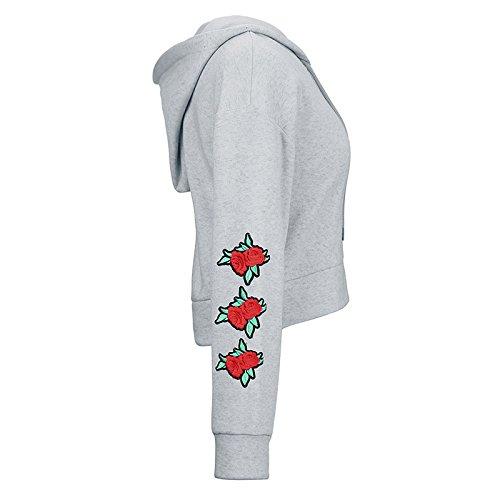 mioim Femmes Hoodie Sweatshirt Pull Pullover Tops Casual Blouse à Manches Longues Imprimé Floral Blouson Automne Coat Gris