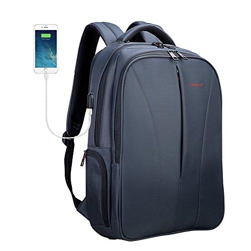 Tigernu Business Laptop Rucksack Ultradünne Anti-Diebstahl-Reise Computer Rucksack grün wasserdicht Laptop-Tasche für Männer und Frauen mit USB-Ladeanschluss 15,6 Zoll schwarz