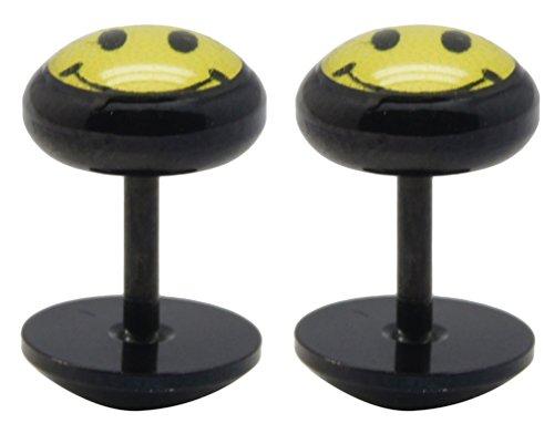 Falso plug titanio de color negra de acero quirúrgico con los Joli cámara una par–Smiley dibujo–Le estación est 1.6mm