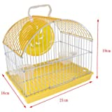 Pets Empire Hamster Cage Portable Carrier Hamster Carry Case Cage With Water Bottle&Wheels&Food Feeder Small Animals- 22X16X19cm (Color May Vary)