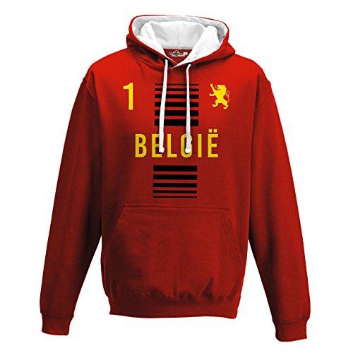 Felpa Cappuccio Bicolore Nazionale Sportiva Belgio Belgique 1 Calcio Sport Europa Leone 1A KiarenzaFD Streetwear Uomo Fire Red-Arctic White