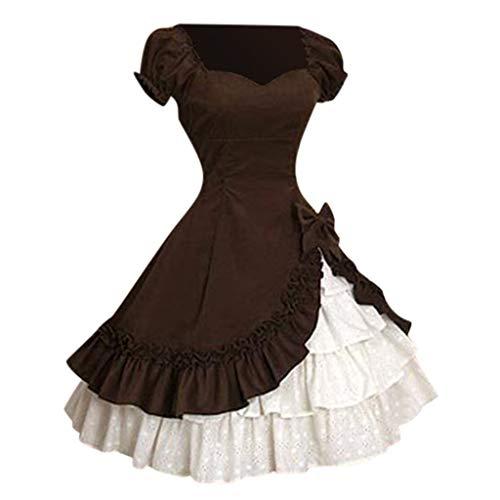 Gothic Lolita Kleid, Dasongff Mittelalterliche Viktorianischen Königin Kostüm Renaissance Maxikleid Partykleid Abendkleid Damen Cosplay Steampunk Chiffon Kleid Corsagenkleid Trachtenkleid (Für Kinder Mittelalterlichen Kostüm Renaissance)
