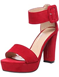 VulusValas Mujer Punta Aiberta Ankle Strap Sandalias Plataforma Zapatos