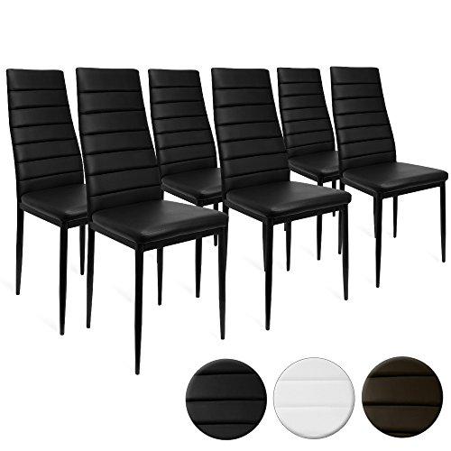 6er Set Esszimmerstuhl Küchenstuhl Hochlehner Stühle Stuhl Polsterstuhl Esszimmerstühle schwarz