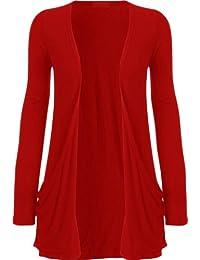 New Womens Causal Plus Size Jersey Pocket Cardigan Boyfriend Cardigan Top 8-26 ( Red , UK 16-18 / EU 44-46 )