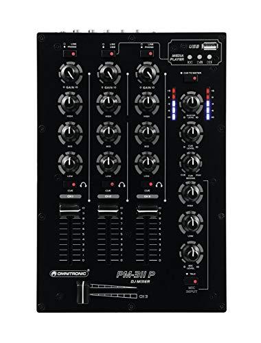 Omnitronic PM-311P 2-Kanal-DJ-Mixer mit integriertem MP3-Player | DJ-Mikrofoneingang mit Talkover-Schalter