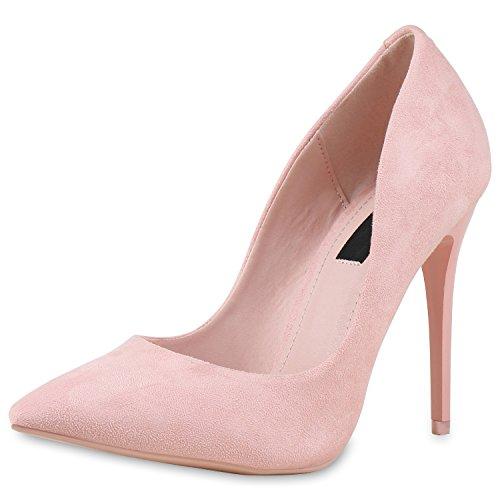 SCARPE VITA Spitze Damen Pumps High Heels Lack Stilettos Schuhe 164215 Rosa 36