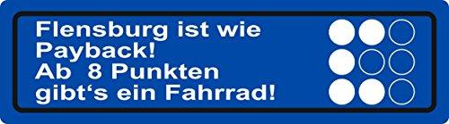 carstyling XXL Aufkleber Flensburg ist wie Payback! Ab 8 Punkten gibt´s EIN Fahrrad! blau ~ schneller Versand innerhalb 24 Stunden ~