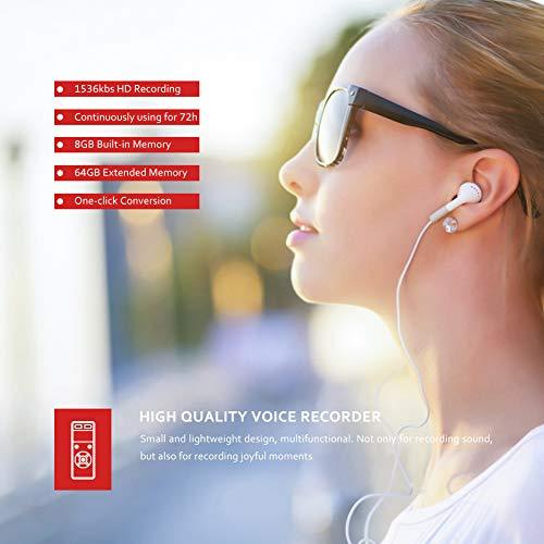 Victure Grabadora de Voz Digital Portátil,  8GB 1536kbps HD Grabador de Sonido con Reproductor de MP3,  Micrófono Incorporado,  Reducción de Ruido,  Baterías Recargables,  Conveniente para Conferencia,  Reunión,  Entrevista,  Concierto etc.