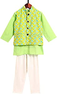 Amber By Hopscotch Boys Cotton Kurta With Floral Jacket And Pajama (Set Of 3) in Green Color