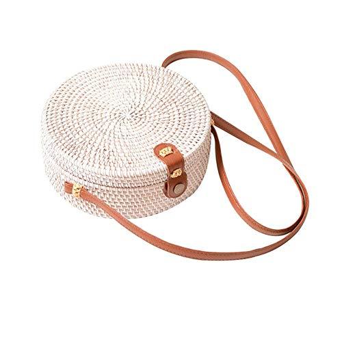 Leinen Woven Shirt (Runde Rattantaschen, Wissen Handmade Ata Straw Rattan Bag Leinen Inside Woven Circle Crossbody Handtasche für Frauen mit Schulter-Lederriemen)