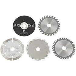 Jeu de lames de scie circulaire, outil de coupe au carbure 5Pcs 15mm / 85mm pour disque de coupe circulaire utilisé sur les machines de découpe de marbre, scies à main électriques, scies à format