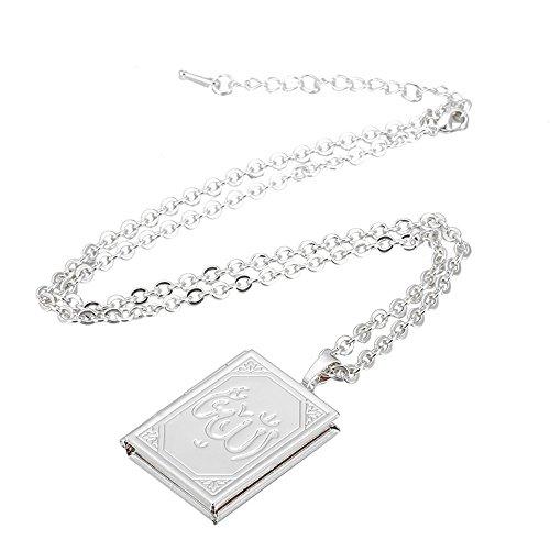 Dunbasi Medaillon Foto Kette+Anhänger Islamische Gott Allah Muslim Muslimischer Halskette Verstellbare Kette Gold und Silber Farbe Schmuck (Silber)