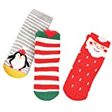 Upxiang 3 Paar Kinder Socken Neugeborenes Baby Unisex Weihnachten Cartoon Pinguin Elch Hausschuhe Warme Socken (Weihnachtsmann, Weiblich M)