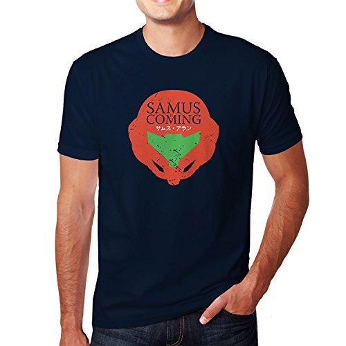 Planet Nerd - Samus is coming - Herren T-Shirt Dunkelblau