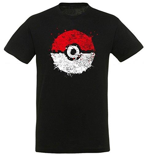 Pokemon Splatter Ball - T-Shirt | Nintendo | Merchandise, Größe:M (Splatter-premium-t-shirt)
