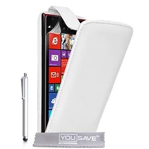 Yousave Accessories NO-KA01-Z630P Etui en cuir avec Stylet pour Nokia Lumia 1520 Blanc