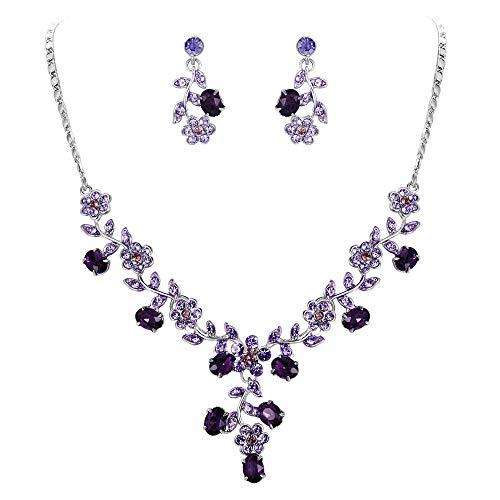 eichischen Kristall Blätter Blume Form elegant Braut Halskette mit Ohrring Anhänger Schmuck-Set lila Silber-Ton N03848-11 ()