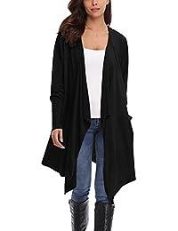 Gilet Femme Cardigan Long Gilet Noir Femme Manches Longues en Mousseline de Soie Veste Ouvert Bolero avec Poches Gilet Asymétrique