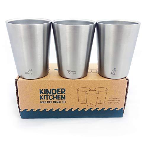 \'Meerestiere\' Edelstahl Becher (200ml/x3) | Kalte & warme Getränke | BPA-frei, spülmaschinenfest, stapelbar, doppelwandige Metallbecher | Stahltassen, Isolierbecher für Kinder, Kaffee, Camping