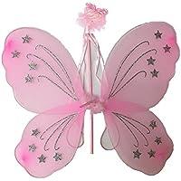 One4All buy® ragazza grande rosa glitter fata ali e bacchetta