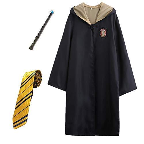 Kosplay Enfants Costume De Cape pour Adulte pour Harry Potter, Harry Potter Gryffindor Ravenclaw Hufflepuff Slytherin Set Cravate Écharpe Lunettes Noël Anniversaire Carnaval Cosplay