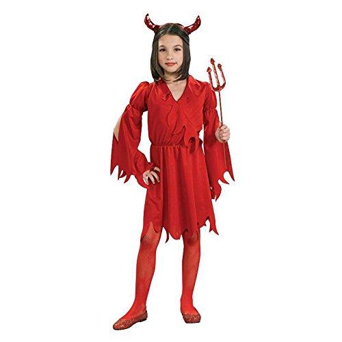 Devil Girl Gr. L (7 - 9 Jahre) Fasching Karneval Kostüm Halloween Verkleiden (Kind Girl Devil Halloween-kostüm)