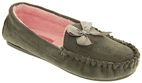 Dunlop Donna Eco-Pelliccia Foderato Pantofole Mocassino Grigio tortora
