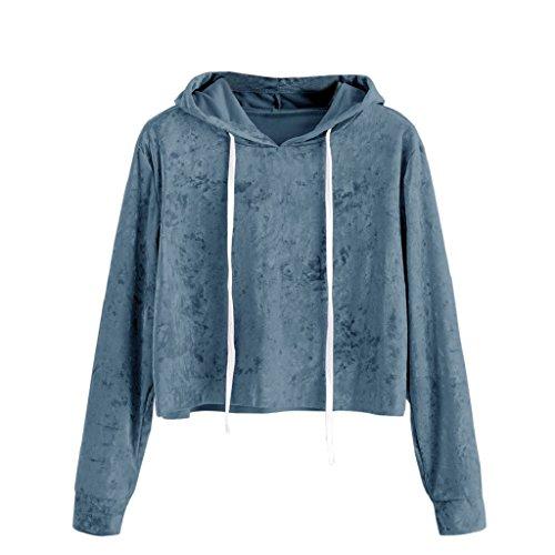 Blaue Mikrofaser-pullover (Ronamick Kapuzenpullover Damen Sweatshirt Pullover Langarm Kapuzenpullis Samt Mikrofaser Hoodie Sweatshirt (Blau, S))
