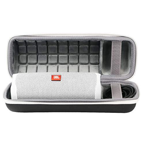 co2CREA Voyage Stockage Porter Étui Housse Case pour JBL Flip 5 Enceinte Bluetooth Portable (External Black,White Zipper)