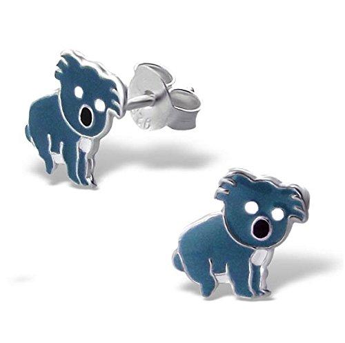 Katy Craig - Orecchini a perno in argento puro, a forma di koala, piccole dimensioni 0,9 cm x 0,9 cm, forniti in confezione regalo - Zoo Blu Animali